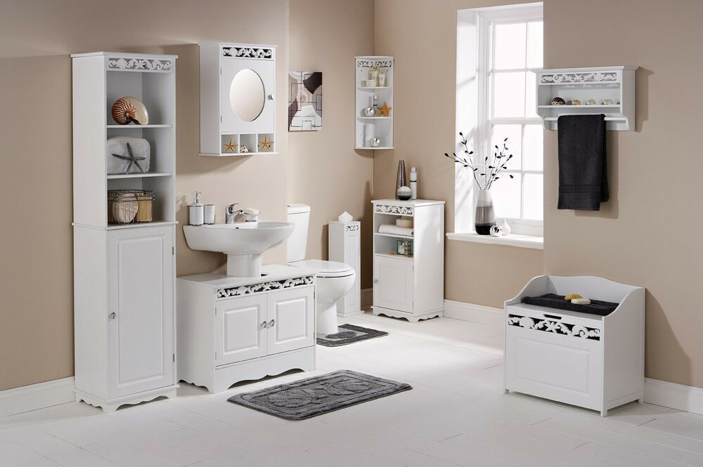Tarragona White Floor Bathroom Cabinet : Coral white bathroom furniture range tall cabinet wall