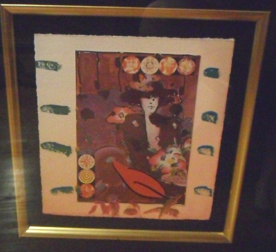 peter max 39 brown lady 39 painting signed beautiful iconic piece ebay. Black Bedroom Furniture Sets. Home Design Ideas