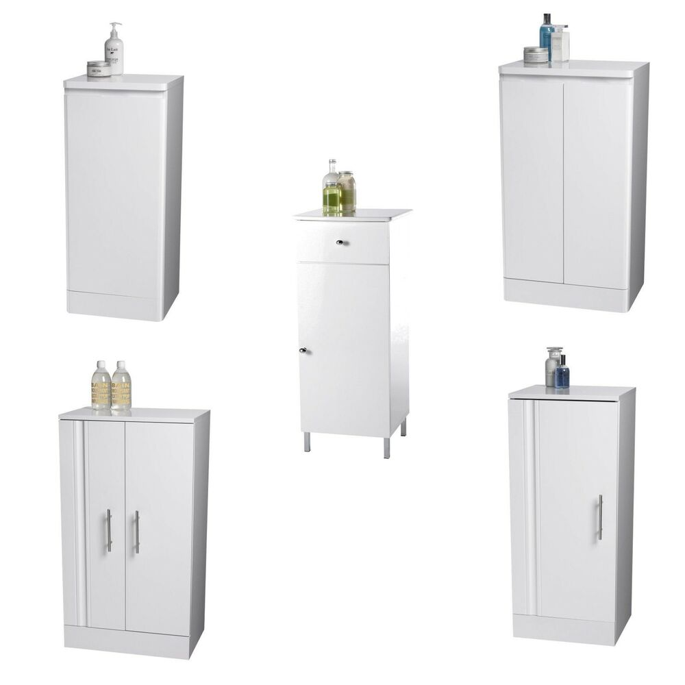 Showerdrape white freestanding wooden bathroom cabinet storage collection ebay for White bathroom cabinets free standing