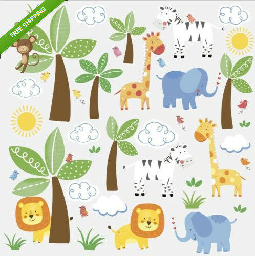 jungle animals friends wall stickers 47 decals safari zoo baby nursery decor ebay. Black Bedroom Furniture Sets. Home Design Ideas