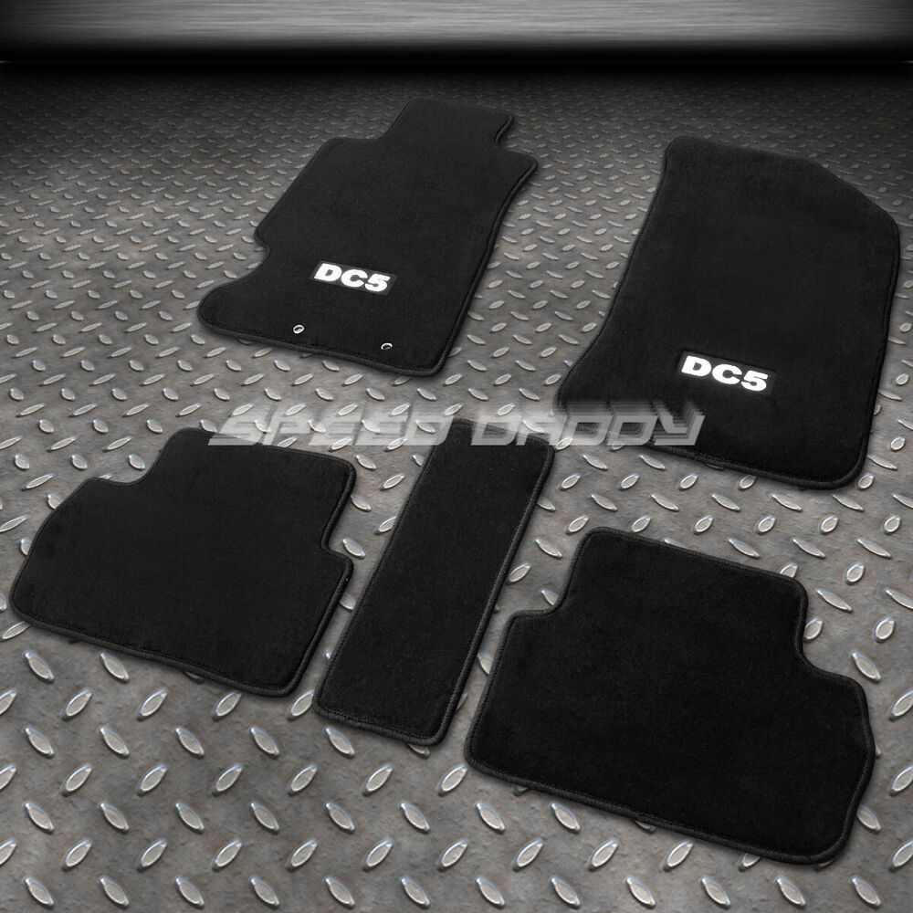 FOR ACURA RSX K20 W/DC5 LOGO NYLON BLACK FLOOR MATS/PLUSH