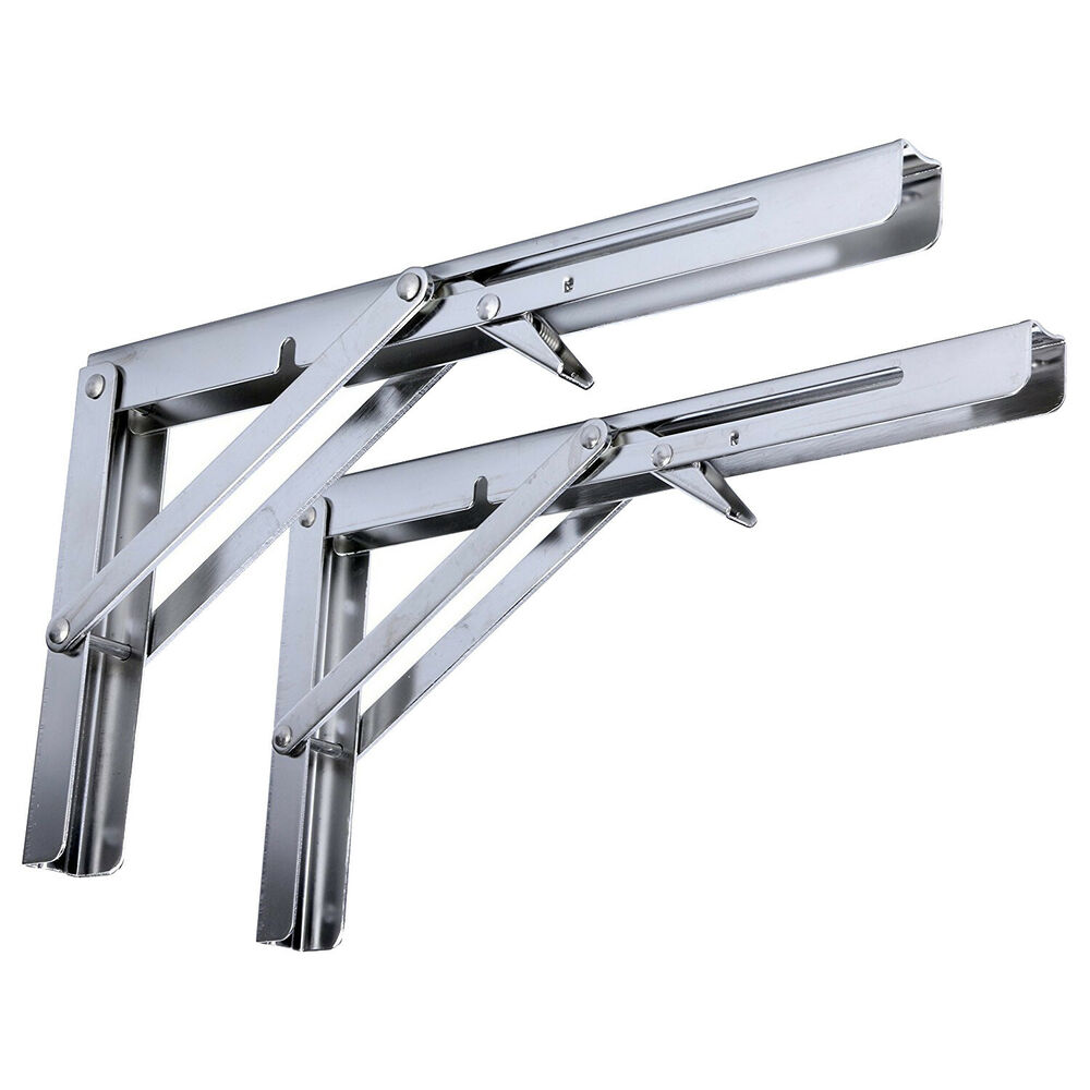 2x Polished Stainless Steel Folding Shelf Bench Table