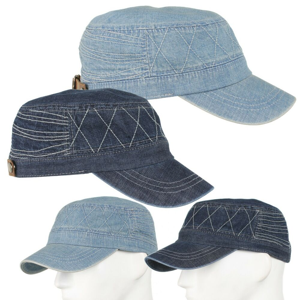 Nw Mens Washed Denim Hat Golf Cap Cotton Jean Adjustable Baseball Cadet Military | eBay