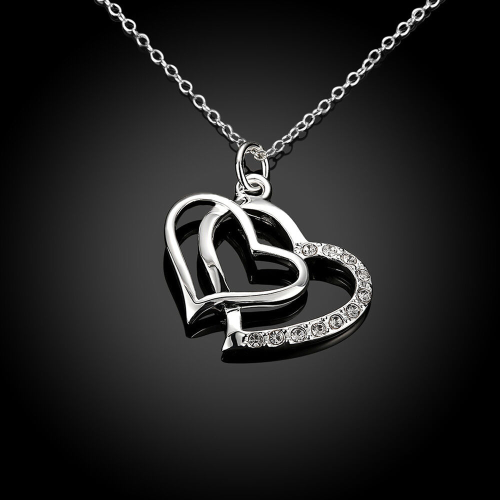 new 925 sterling silver filled crystal double heart charm. Black Bedroom Furniture Sets. Home Design Ideas