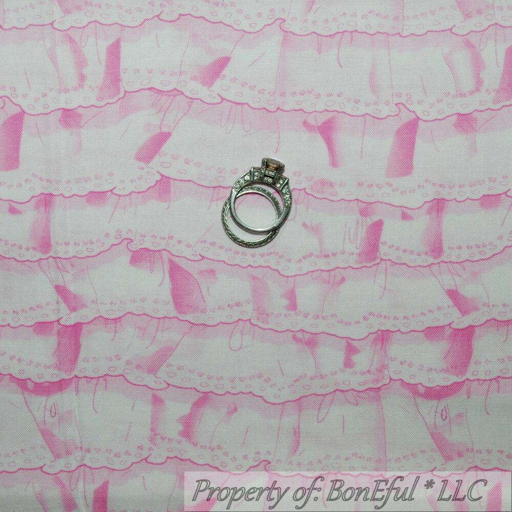 boneful fabric fq cotton quilt white pink baby girl