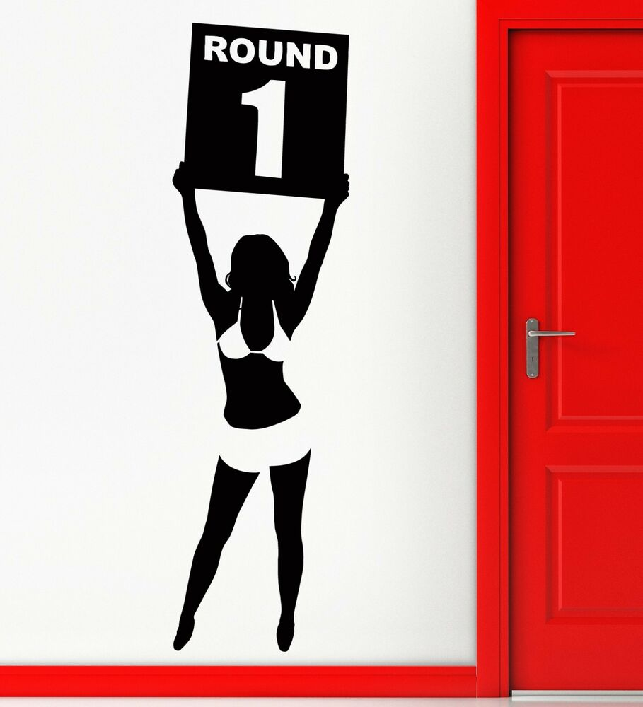 Wall Sticker Vinyl Decal Ring Girl Round One Boxing Martial Arts Decor