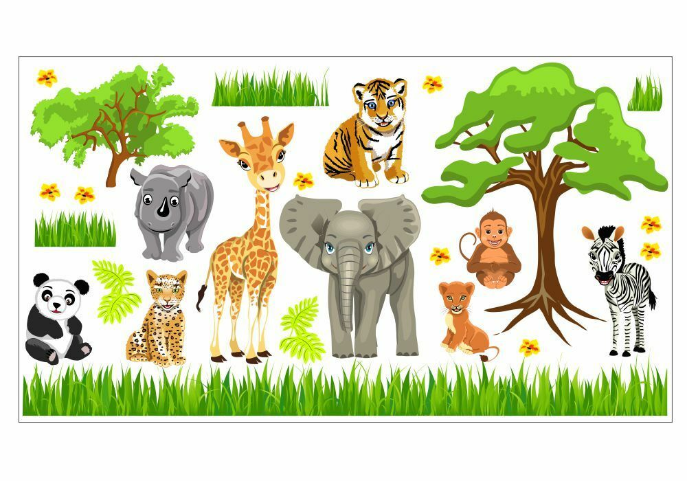 nikima 088 wandtattoo baby tiere safari dschungel savanne kinderzimmer sticker ebay. Black Bedroom Furniture Sets. Home Design Ideas