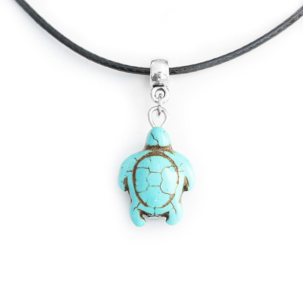 turquoise turtle charm pendant choker necklace with black