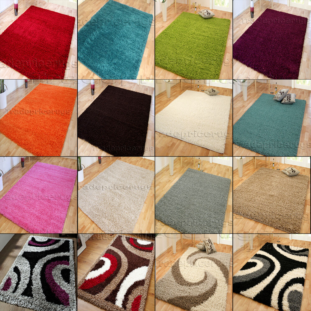 Small x extra large thick plain soft pile modern for Thick area rugs sale