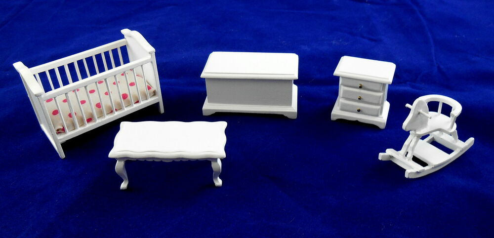Dollhouse miniature 1 24 scale white wooden nursery for Scale model furniture