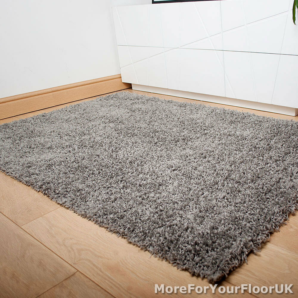 Silver Grey Thick Shaggy Rug Thick Pile Soft Touch