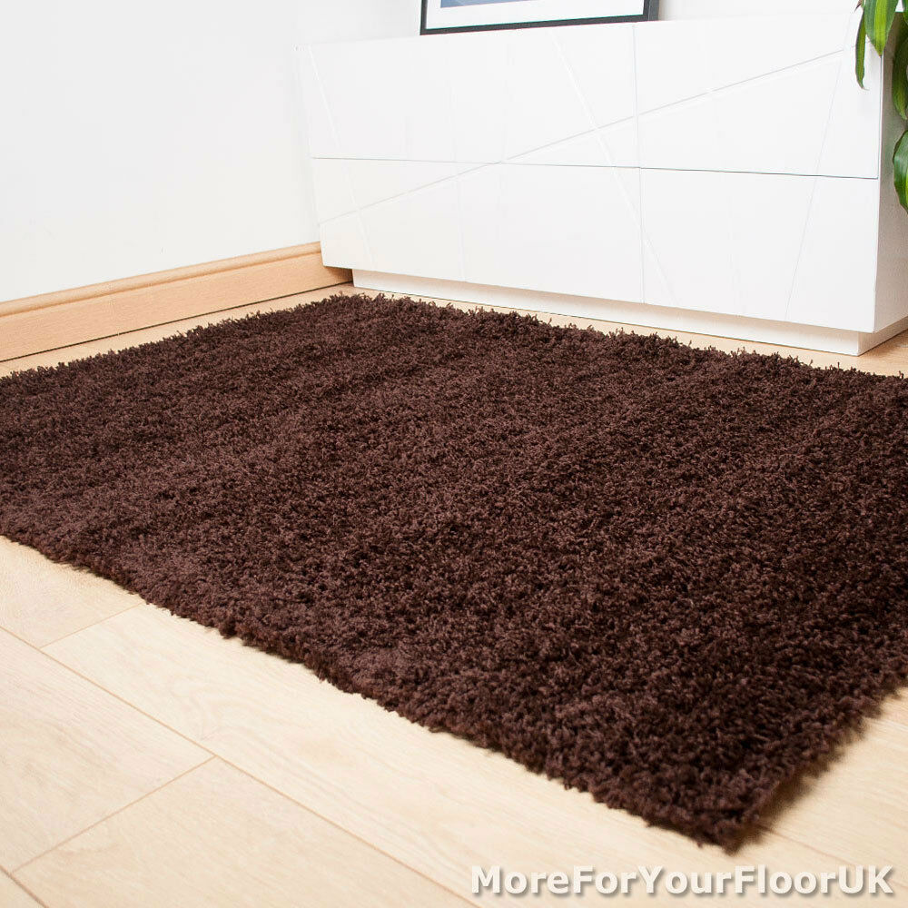 Brown thick shaggy rug thick pile soft touch great for Cheap good quality rugs