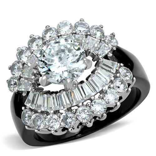 round cz black stainless steel engagement cocktail cluster wide band