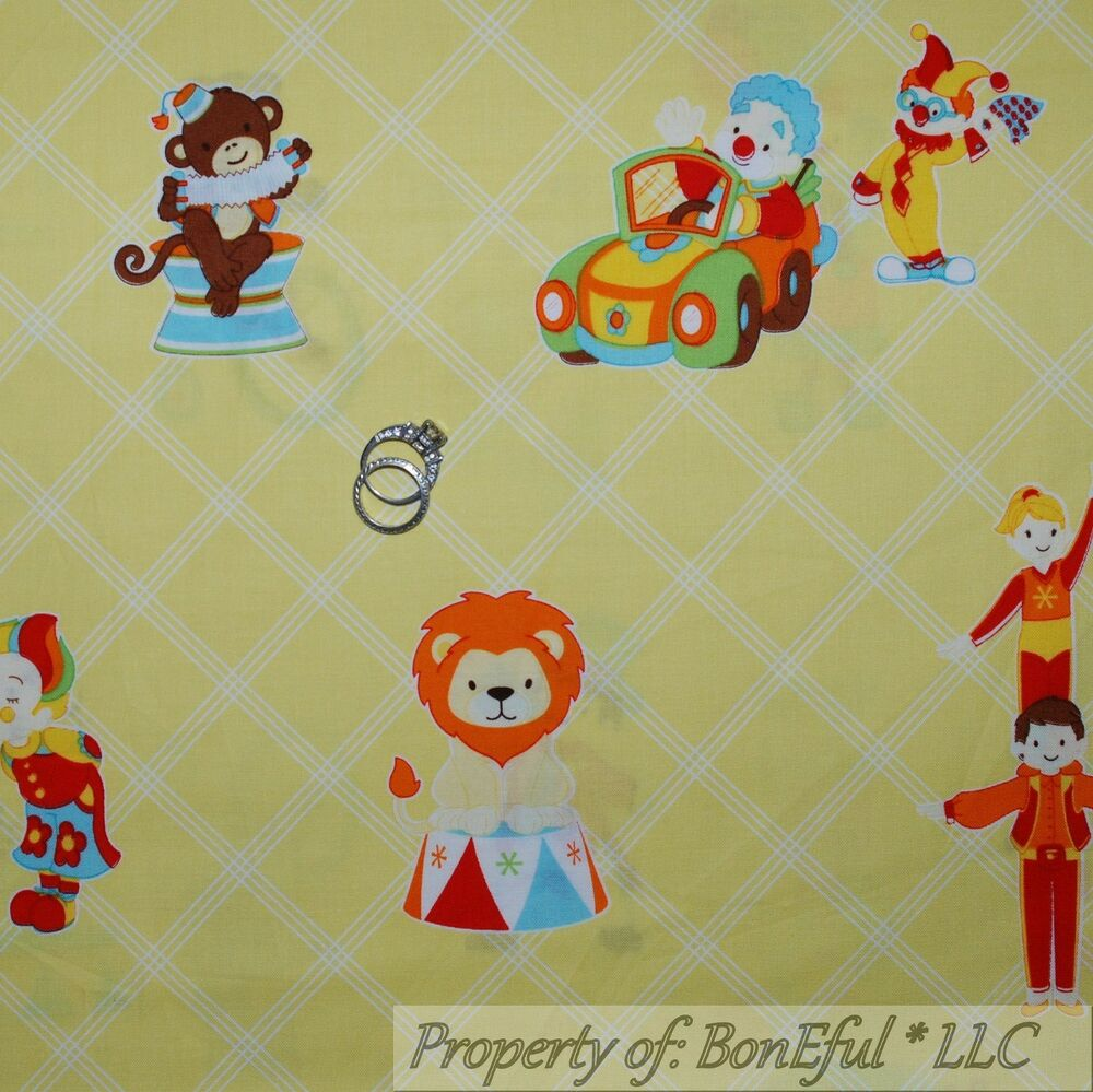 Boneful fabric fq cotton quilt yellow baby animal circus for Yellow nursery fabric
