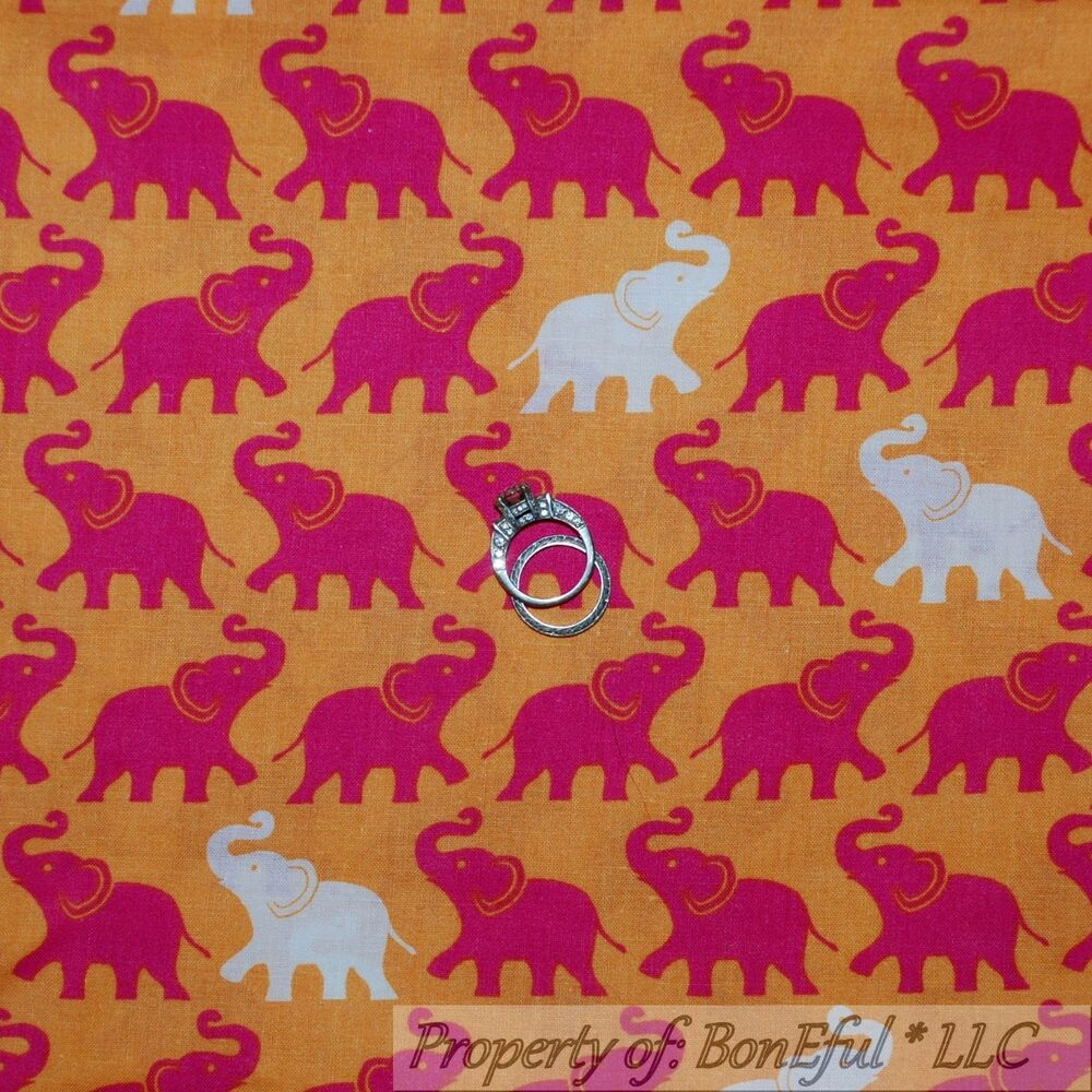Boneful Fabric Fq Cotton Quilt Orange Pink White Baby Girl
