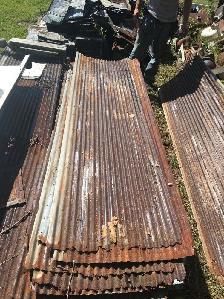 Vintage 10 Corrugated Roof Panel Tin Old Rusty Metal