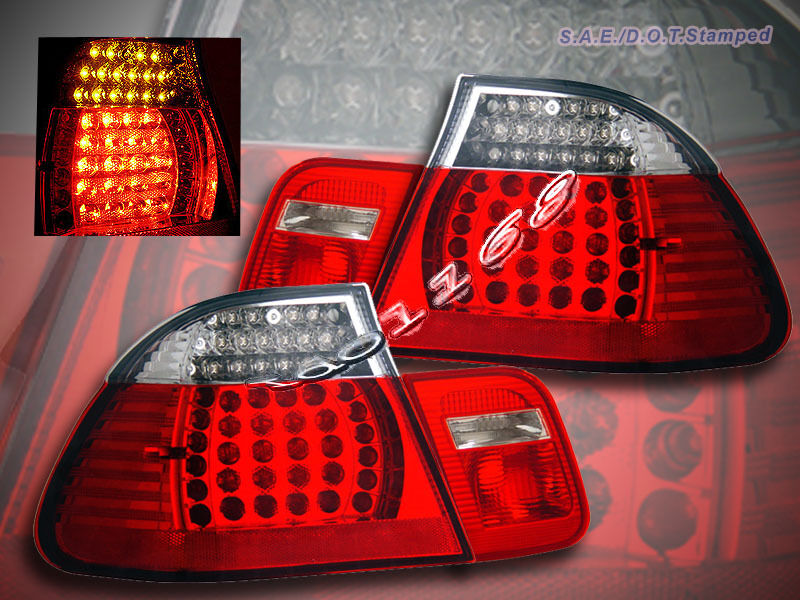 99-03 BMW E46 TAIL LIGHTS RED LED COUPE 2 DOOR 325 330 328 ...