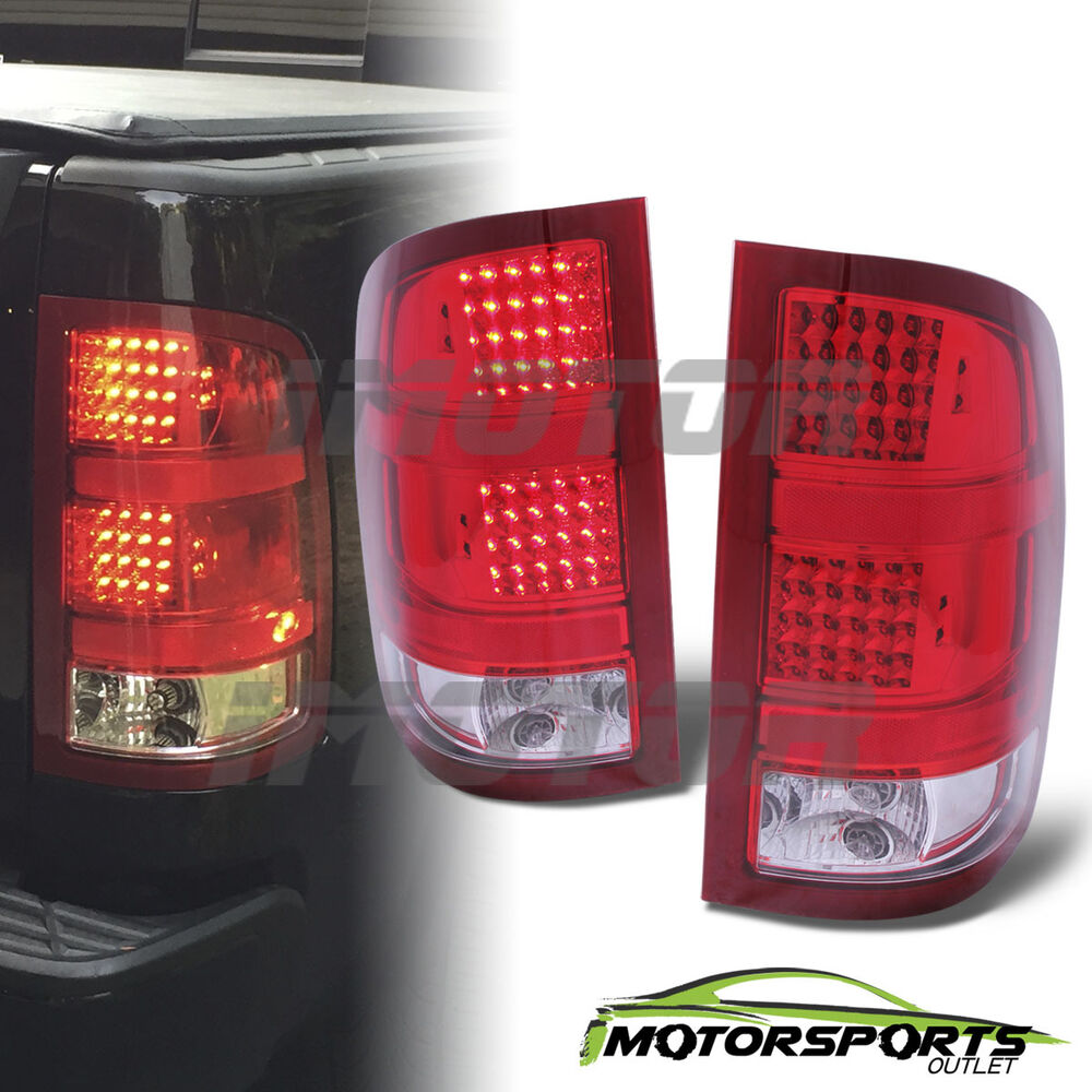 2007 2013 gmc sierra 1500 2500 hd 3500 hd red clear led tail lights pair ebay. Black Bedroom Furniture Sets. Home Design Ideas
