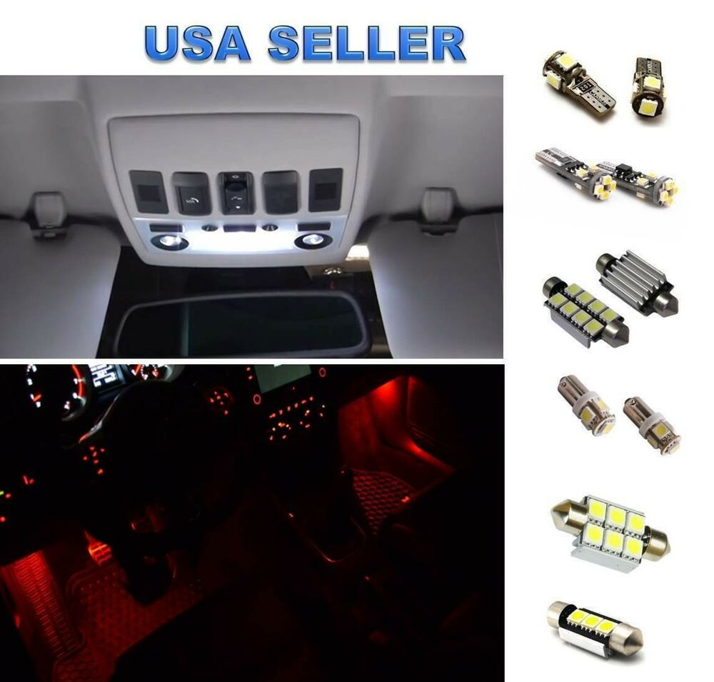Bmw e90 325i 330i 328i 335i m3 led lights interior package kit red footwell ebay - Kit de interior ...