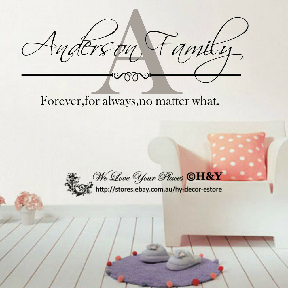 custom personalized family name wall stickers vinyl wall