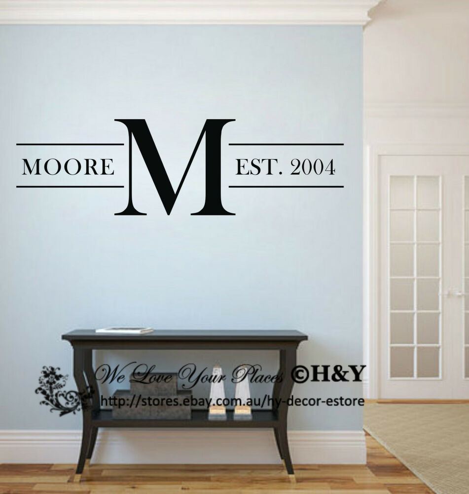 custom personalized family name wall stickers vinyl wall. Black Bedroom Furniture Sets. Home Design Ideas