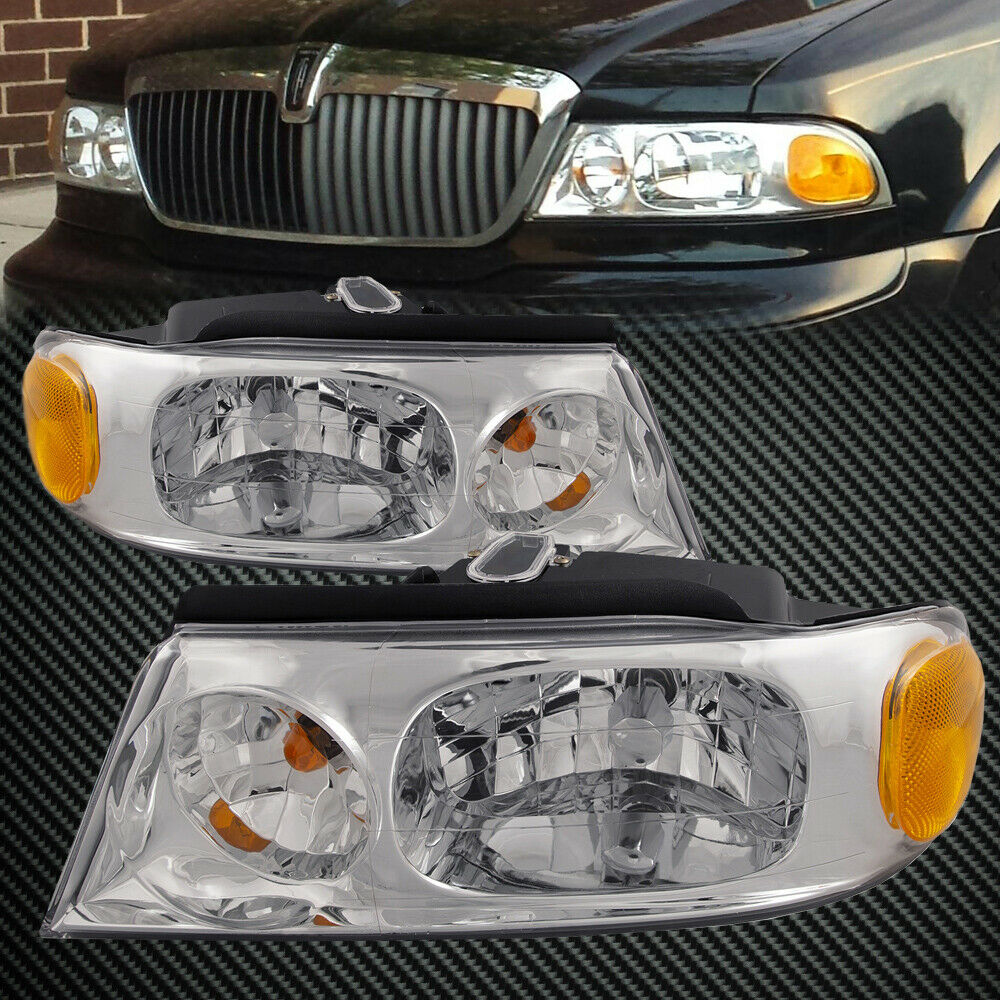 Details About Headlights Set Chrome Halogen For 1998 2002 Lincoln Navigator Blackwood
