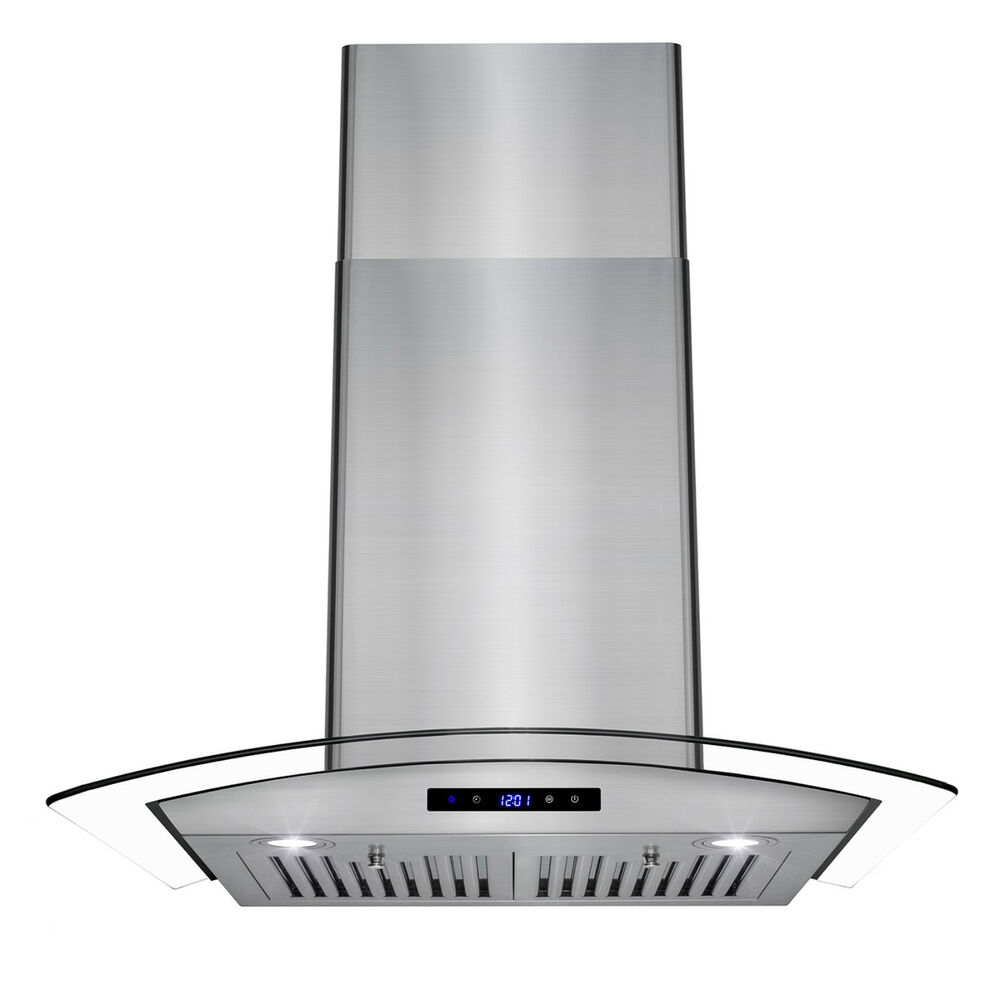 30 stainless steel wall mount range hood with tempered glass touch panel baffle ebay. Black Bedroom Furniture Sets. Home Design Ideas