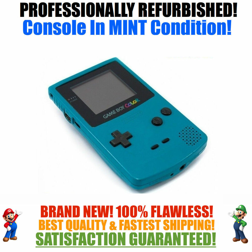 *NEW GLASS SCREEN* Nintendo Game Boy Color GBC Teal System ...