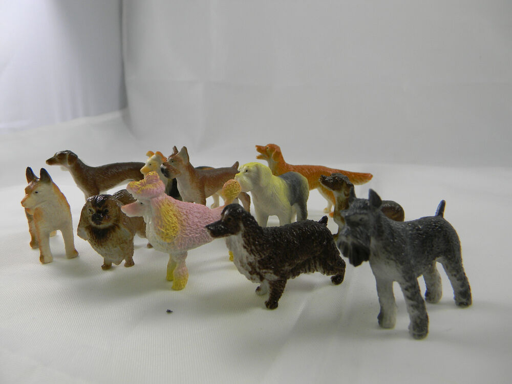 Fake Toy Dogs : Toy dogs assorted breeds mini plastic dog figures new