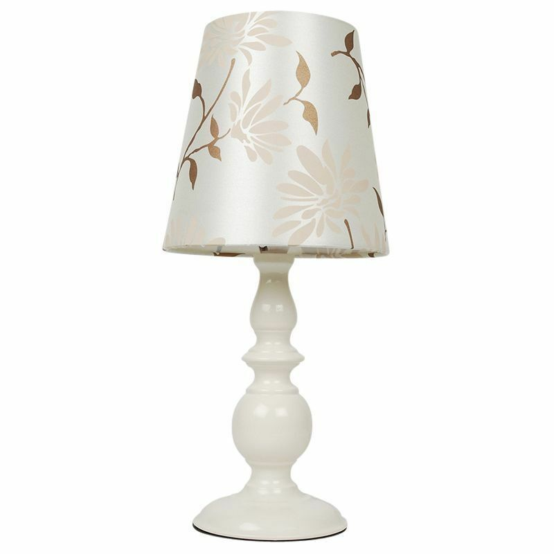Modern cream floral table light lamp with shade bedside for Bedside table lamp shades