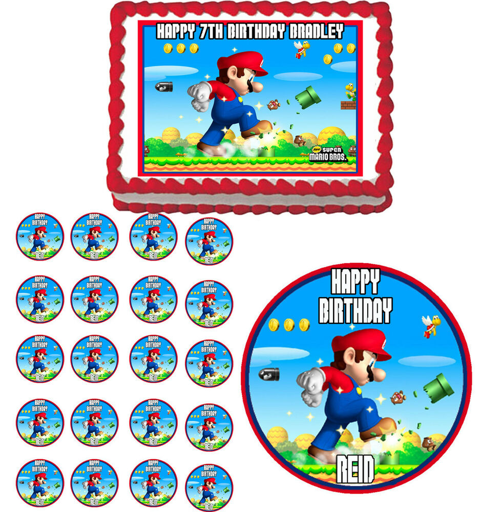Super mario edible birthday cake topper cupcake image for How to make edible cake decorations at home