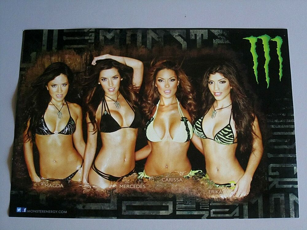 Monster Hot Chicks Energy Drink Quot M Quot Logo Poster Man Cave