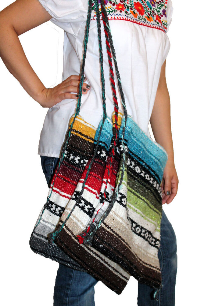 Beach Shoulder Mexican Hippie Baja Bag Handbag Blanket