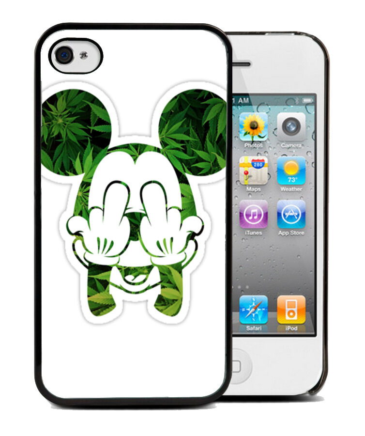 coque bumper iphone 4 4s 5 5s mickey mouse disney swag obey weed canabis ebay. Black Bedroom Furniture Sets. Home Design Ideas