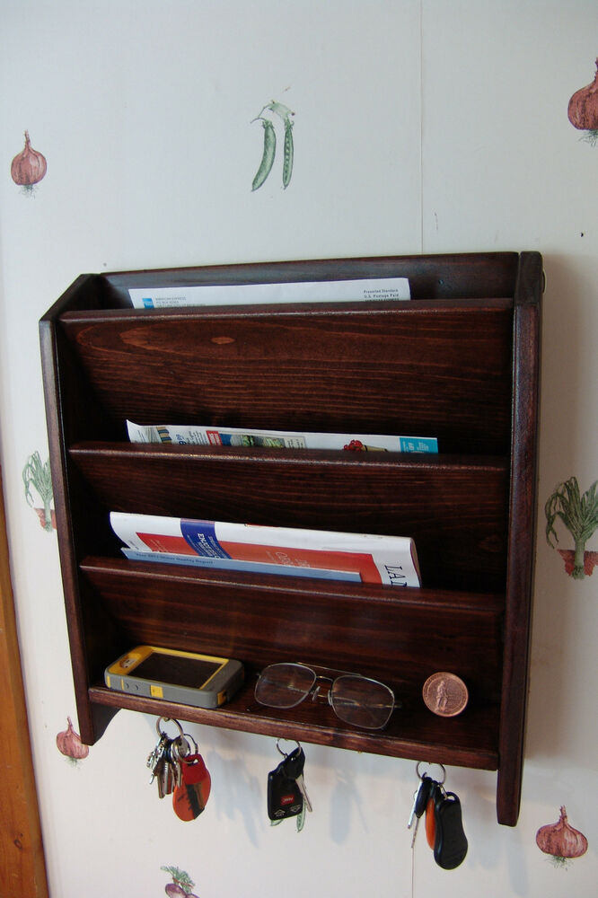 Mail Letter Rack Handcrafted Wood Organizer Key Holder Wall Or Desk Red Mahogany Ebay
