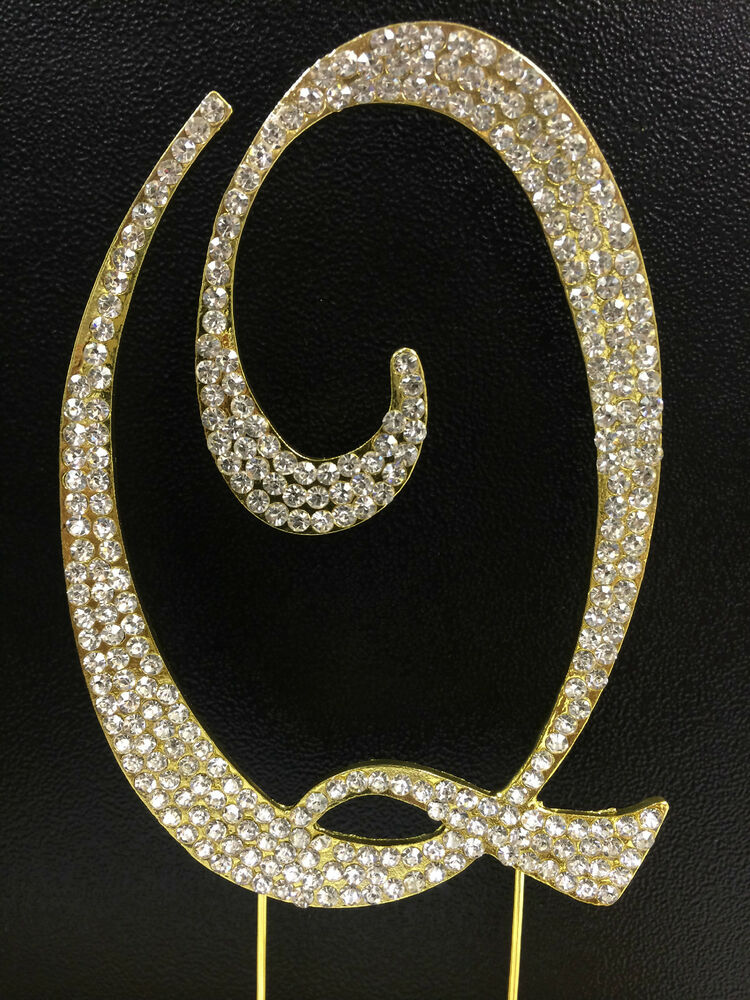 gold plated rhinestone monogram letter  u201cq u201d wedding cake topper 5 u0026quot  inch high