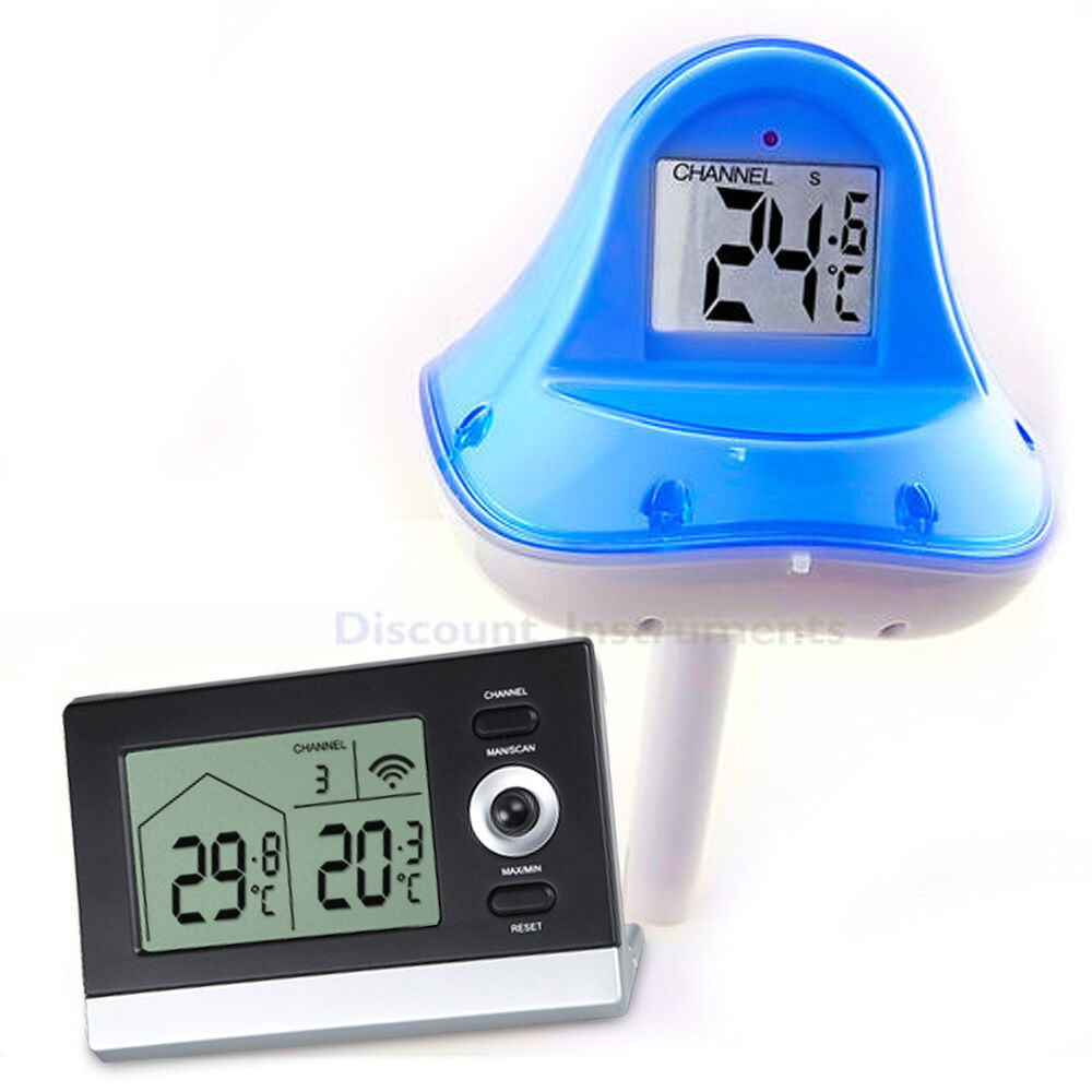 Remote floating wireless temperature meter pool water pond spa thermometer c f ebay for What temperature should a swimming pool be