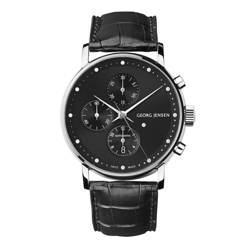 georg jensen men 39 s chronograph 492 black dial koppel ebay. Black Bedroom Furniture Sets. Home Design Ideas