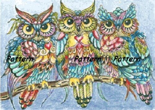 Three Owls Counted Cross Stitch Pattern Paper Version Or