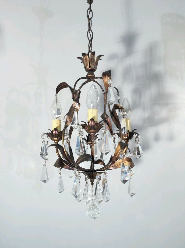 vintage kronleuchter l ster kristall lampe alt korbl ster deckenlampe chandelier ebay. Black Bedroom Furniture Sets. Home Design Ideas