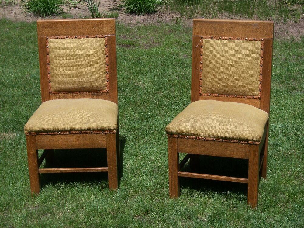 antique set of 2 arts crafts chairs mission style