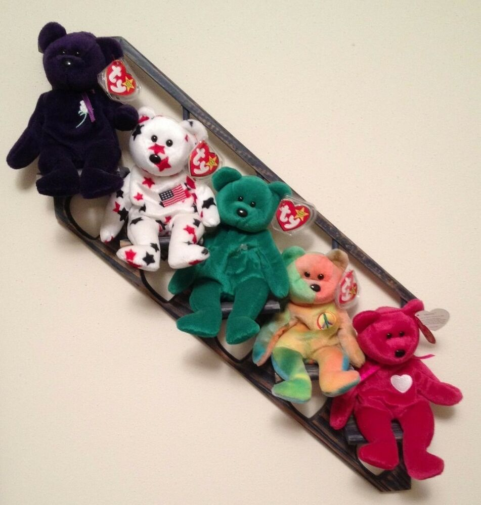 5 Popular Ty Beanie Babies Bears W Display Shelf