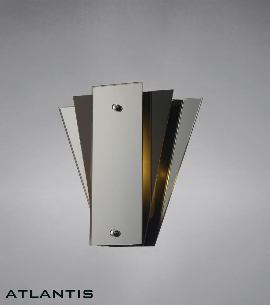 Art Deco Wall Panels: Stylish Art Deco Wall Light With Mirror And Glass Panels