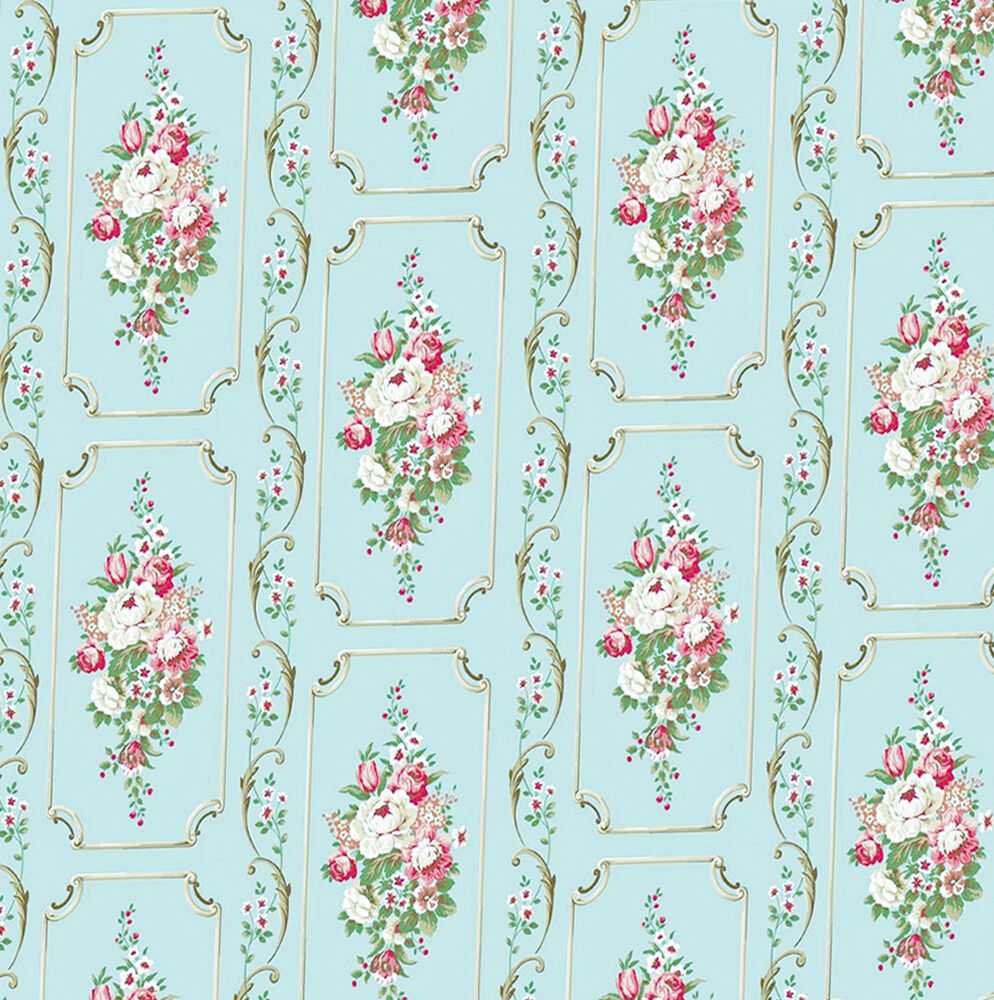 Dolls house wallpaper 1 12th 1 24th scale blue vintage for House wallpaper paper