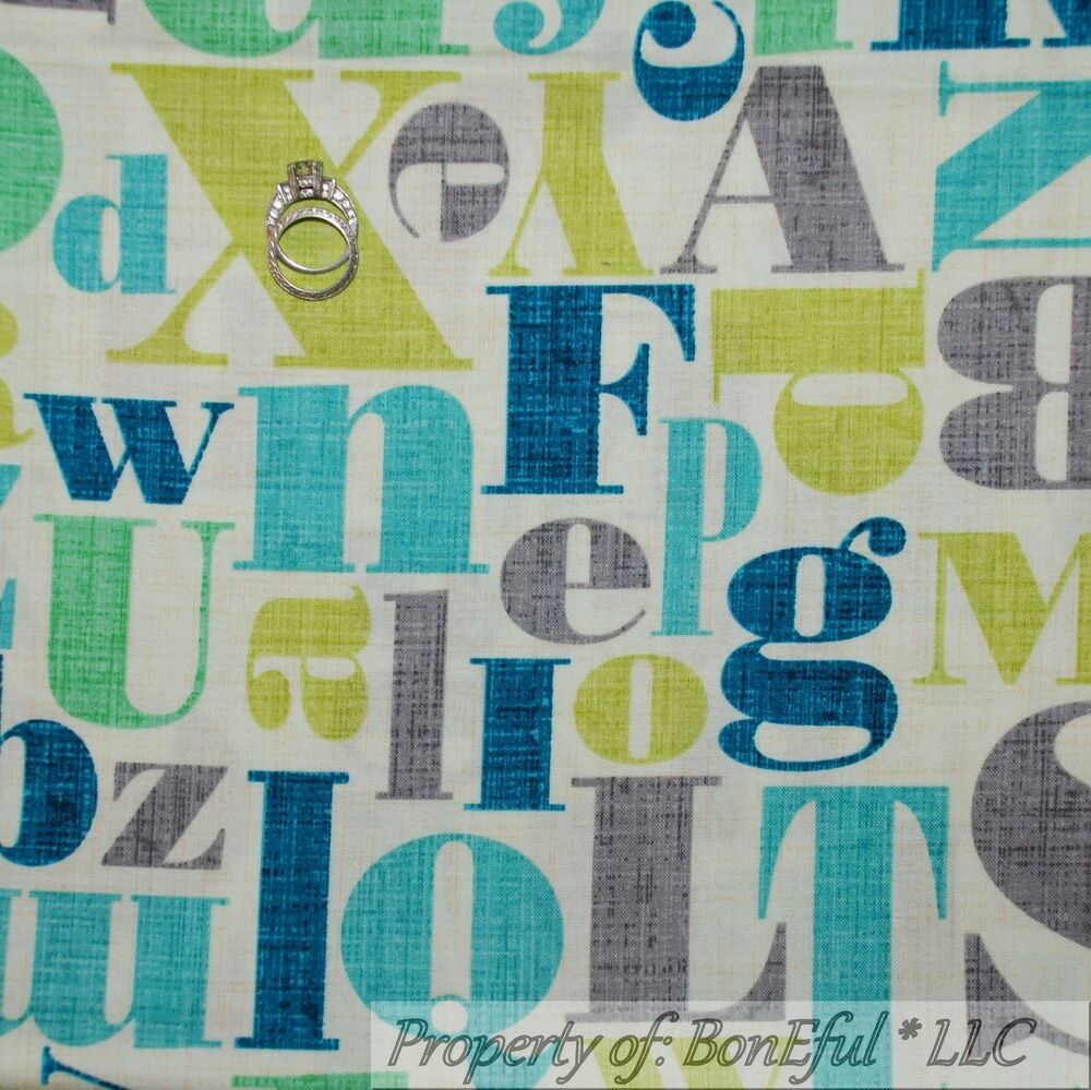 Boneful fabric fq cotton quilt cream gray blue green baby for Boy nursery fabric