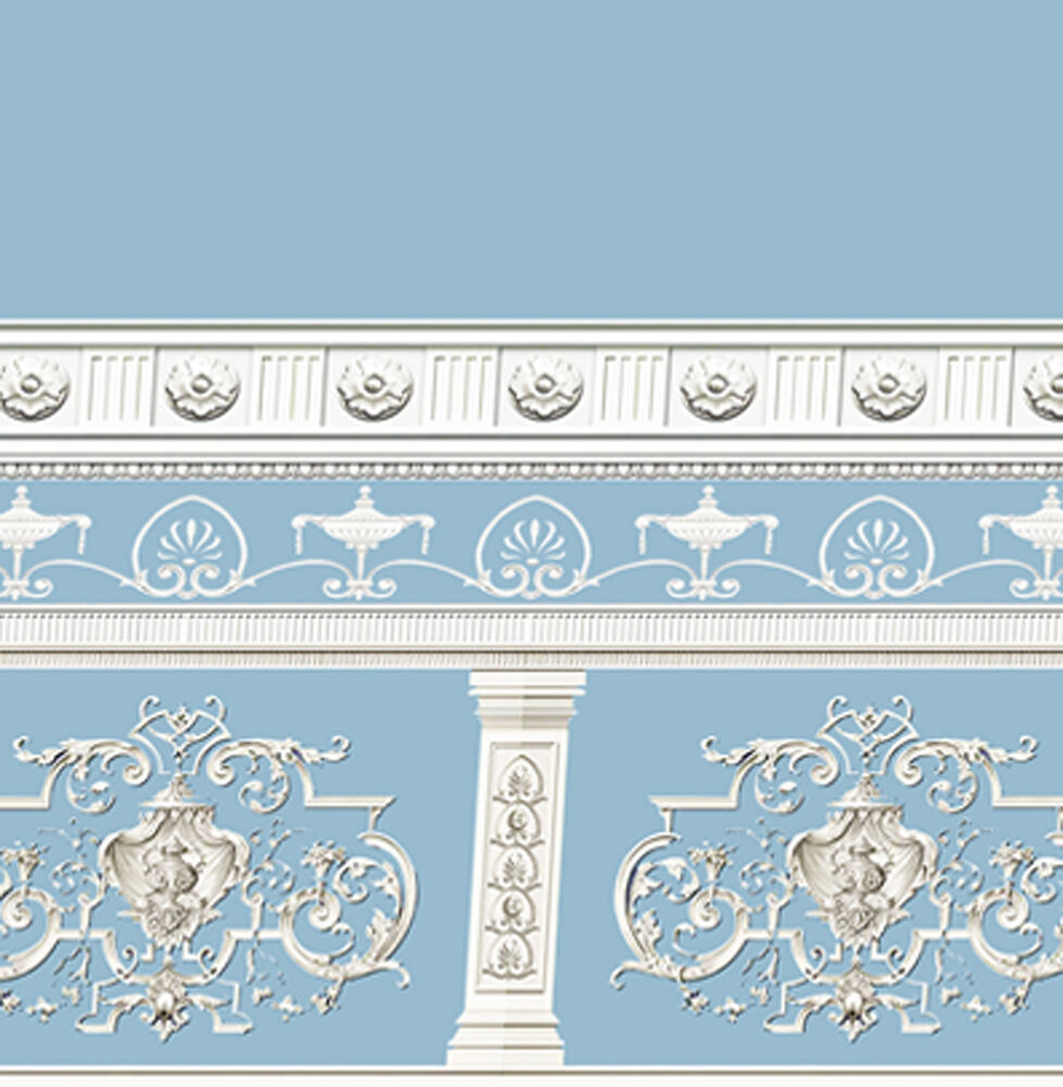 Dolls house wallpaper victorian 1 12th 1 24th scale blue for House wallpaper paper