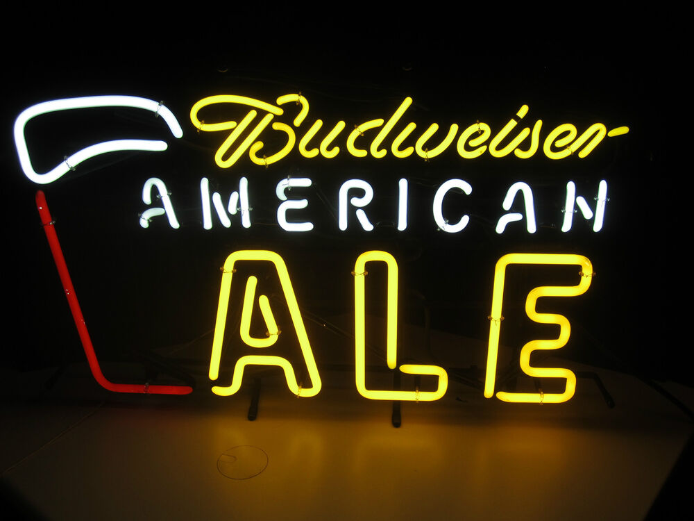 Man Cave Lighted Beer Signs : Budweiser american ale neon beer sign bar man cave bud