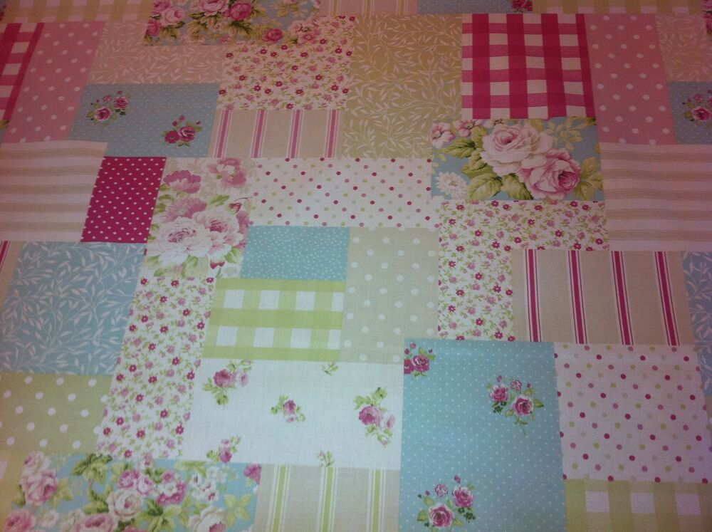 FRYETT`S Vintage Patchwork Pink Cotton Fabric For Curtain