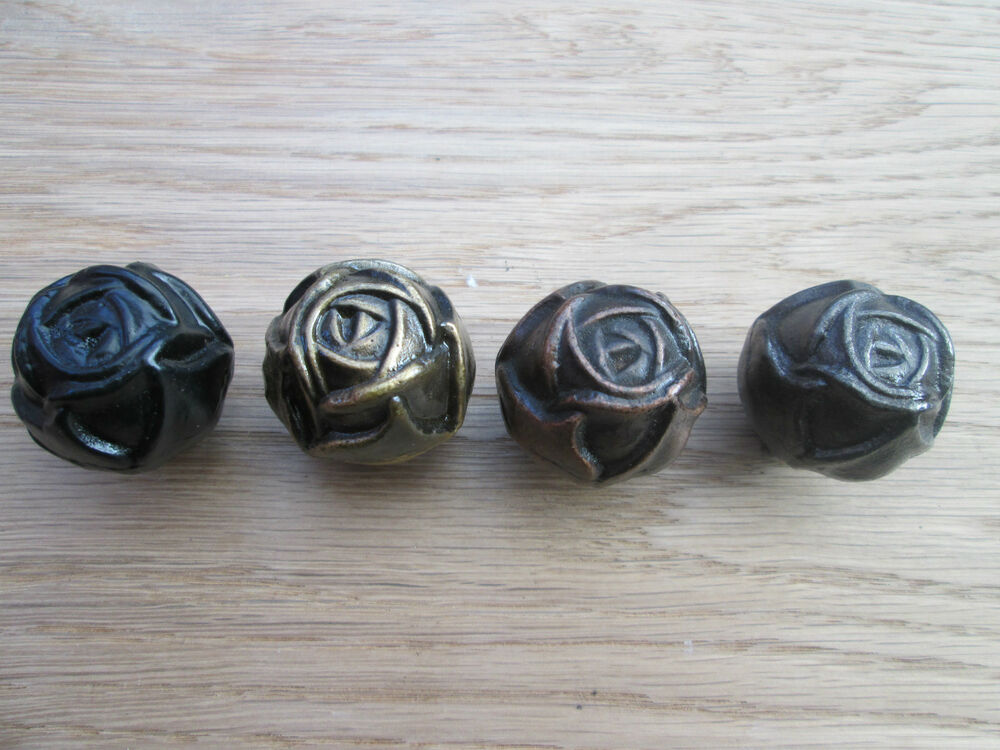 code 10 rose fancy wrought iron cupboard cabinet drawer kitchen door knobs ebay. Black Bedroom Furniture Sets. Home Design Ideas