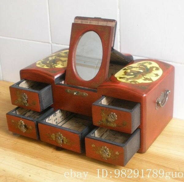 Chinese Wood Dressing Table Dresser Palace Drawers Mirror